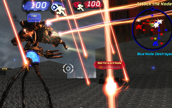 Gilgamesh: map for Unreal Tournament 3 by the Handy Vandal: Blue Darkwalker, Red Eradicator